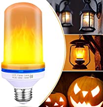 LED Flicker Flame Effect Bulb - 2 Pack Fire Light with Upside Down E26 Base Atmosphere Lights for Indoor Outdoor Christmas Halloween Home Hotel Bar Party Decoration (Orange)