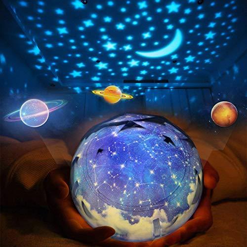 Preisvergleich Produktbild ZHAOYANG Rotierende Sterne Nachtlicht Projektor Lampe Sternenhimmel Projektorlampe Schlaf Sternennacht Universum mit 6 Filme&3 Modus Dekorationen Lichter Kinder Geschenk Spielzeug Schlafzimmer