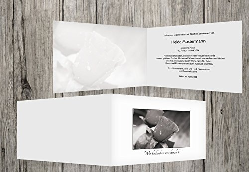 trauerkarten-druck   Danksagung Trauerfall   Danksagung Trauer Rose   20 Karten   mit Individualisierung & Umschlägen   in Weiß