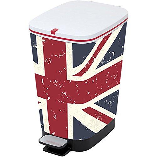 Kiss Kis Abfallbehälter Chic Union Jack 25 Liter, Plastik, Mehrfarbig, 26.5x40.5x45 cm