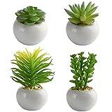 KUUQA ミニ多肉植物 4種セット 人工観葉植物 グリーン フェイクフラワー テーブルタイプ ポトスポット 造花 人工植物 インテリア 雑貨