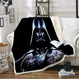 Blankets - Darth Vader Black Blanket Stars Wars Sherpa Fleece Travel Office Blanket Sofa Bed Cover Custom Warm Home Beddin...