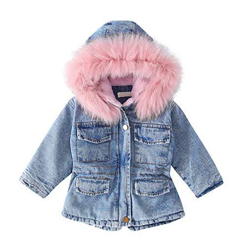 Evelin LEE Baby Girls Faux Fur Hooded Denim Jacket Warm Fleece Lined Jeans Outwear Winter Coat