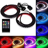 SOCAL-LED 4x Car LED Strip Lights RGB 8 Color LED Underglow Kit Underbody Accent Light, Wireless Remote Control, Sound Activated, 36' & 48' Strips