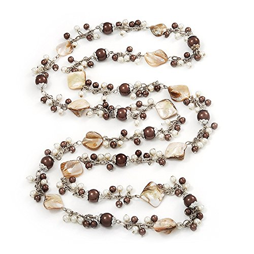 Avalaya Antique White Shell & Brown Imitation Pearl Bead Long Necklace - 130cm Length