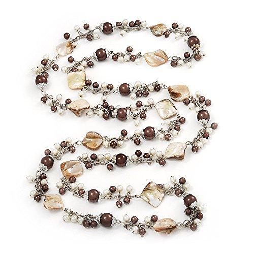 Avalaya - Collana lunga con perle finte color bianco antico e marrone – lunghezza 130 cm