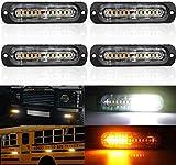4X4D LED Feux Stroboscopique,12 LED Lampe Flash Stroboscope Feux Clignotant Warining Beacon Lights Barre Lumière d'urgence Orange Blanc 40W 12V 24V pour Voiture Camion Remorque