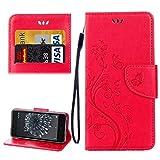 Liluyao Cas de téléphone Portable pour BQ Aquaris X5 Plus Papillons Love Flowers Embossing Etui à...