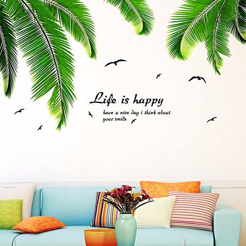 HCCY Minimalistische Wall Sticker animation Wohnzimmer Continental im Hawaiianischen Stil Zimmer sind in einem mediterranen Wand Papier Pflanzen Palmen dekoriert Blätter 150 * 73 cm, Palm Blätter