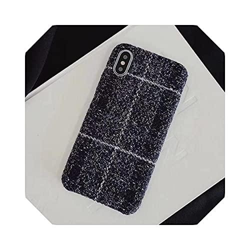 Funda de teléfono para iPhone X XS Max XR 8 7 6s 6 Plus Cashmere moda color suave contraportada Carcasas capa Fundas-azul oscuro para iPhone X