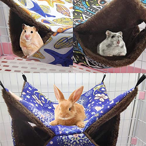 Small Pet Cage Hammock - Double Layer Sugar Glider Hammock - Hamster Guinea Pig Cage Accessories Bedding - Cozy Small Animals Bed for Chinchilla Parrot Ferret Squirrel Hamster Rat Playing Sleeping