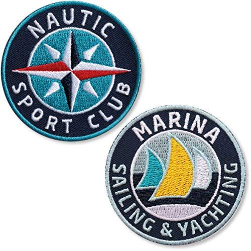 Club of Heroes 2er-Set, Segelsport Abzeichen 62 mm rund/Sailing Segeln Wassersport Yachting Boot Schiff/Aufnäher Aufbügler Sticker Label Flicken Bügelbild/Patch für Kleidung Taschen