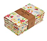Urban Villa Impresión de Puntos y Rayas Servilletas 100% algodón Juego de 12 servilletas de Tela de tamaño Gris/marrón de 51x51 CMS Juego de 12 Estampado Floral
