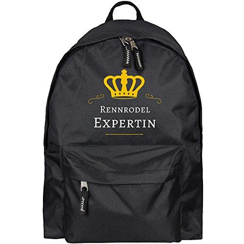Multifanshop® Rucksack Rennrodel Expertin schwarz - Backpack Tasche