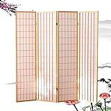 Qianda biombo separador, divisor habitacion tabique móvil plegable cortar madera maciza cuadro estilo japones para decoración del hogar cocina, comida, 4 paneles (color : a, size : 150x176cm)