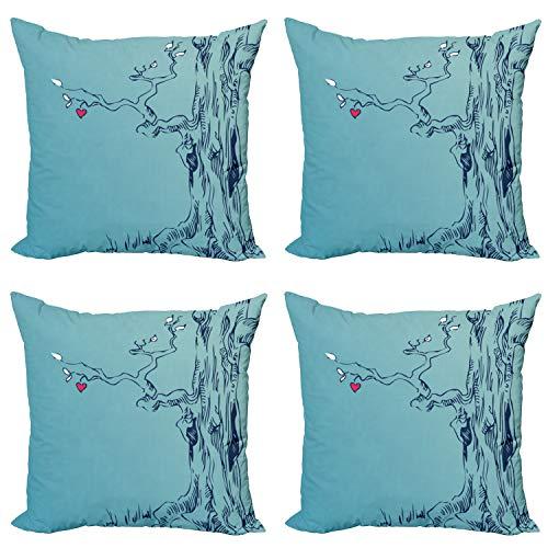 ABAKUHAUS Natur Kissenbezug Set (4 Stück), Baum mit Herz-Blättern, moderner doppelseitiger Digitaldruck, 60 cm, Türkis