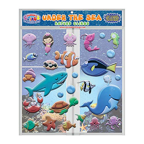 Under The Sea Ocean by Incredible Gel and Window Clings for Kids and Toddlers (30 pc) - CPSC Tested Certified Safe Foam Puffy Stickers - Underwater, Turtle, Mermaid, Shark, Whale, Octopus, Fish