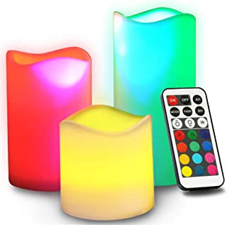 Novelty Place Flameless Candles with Remote, [Real Flickering & Real Ivory Color] Battery Powered LED Pillars Candle with ...