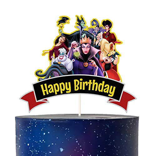 LYNHEVA Glitter Disney Villains Happy Birthday Cake Topper Disney Villains Ladies Cake Topper Disney Villains Theme Party Supplies Girls Kids Bday Party Favor