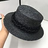 YFZCLYZAXET Sombreros De Paja Gorra De Mujer Paja Celebridad Mujeres Sombreros De Sombra para El Sol Lazo Plano Flores De Encaje Francés-Negro_M_57Cm