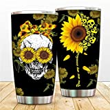 Sugar Skull 20 oz Stainless Steel Tumbler Bottle Vacuum Insulated Skullectables Mug Double Walled Coffee Cup for Travel Work Sport Ice Drinks Hot Beverage (sunflower skull)