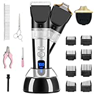 X XBEN Dog Clippers, 1500mAh Low Noise Dog Grooming Clippers with Wide & Narrow Blade, 360° Fast Cha...