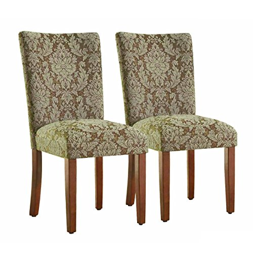 HomePop Parsons Upholstered Accent Dining Chair, Set of 2, Blue and Brown Damask