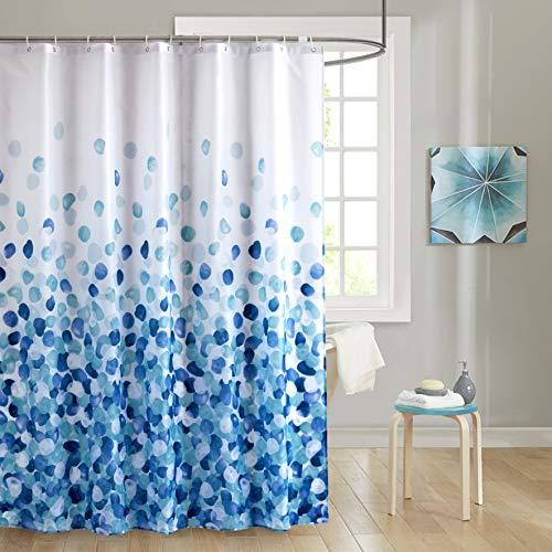JRing Duschvorhäng Wasserdichter Anti-Schimmel Duschvorhang aus Polyester Stoff Waschbar Badewanne Vorhang mit 12 Duschvorhangringen 180x200cm Blau