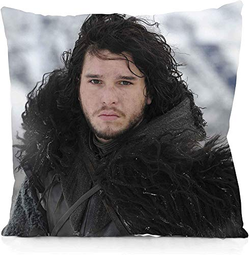 Marrine Game of Thrones Jon Snow Square Pillowcase Both Sides Print Zipper Throw Pillows Covers 18x18 Inches
