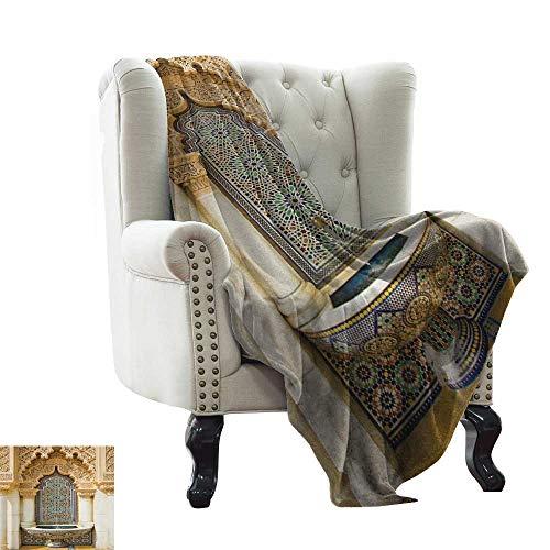 LsWOW Manta de sofá marroquí, Tradicional arábigo Hecho a Mano Coloridos Platos Disparo en el Mercado en Marrakesh, Suave Verano enfriamiento Ligero Manta de Cama
