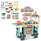 [USA Shipping Directly] Kids Kitchen Playset, Cart Play Set with Play Food and Kitchen Accessories Set for Girls and Boys