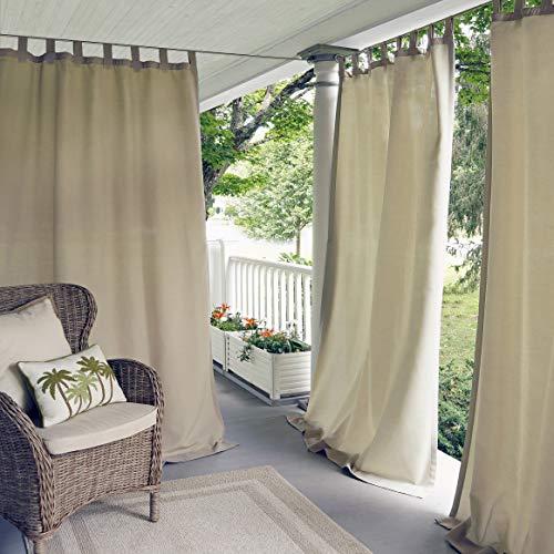 Elrene Home Fashions Indoor/Outdoor Solid UV Protectant Tab Top Single Window Curtain Panel Drape for Patio, Pergola, Porch, Deck, Lanai, and Cabana Matine Taupe 52u0022x108u0022 (1 Panel)