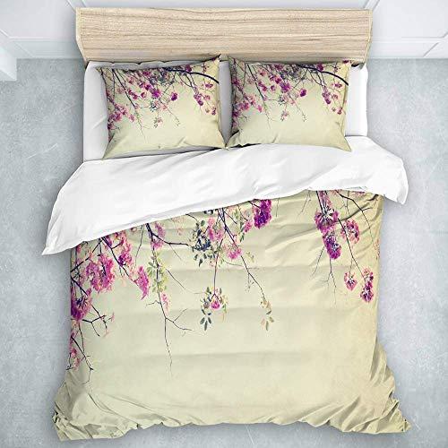 Jojun Duvet Cover Set, Floral Flowers Branches Sakura Blooms Cherry Blossoms Spring Time Photo, Luxury Quilt Set 3 Pieces