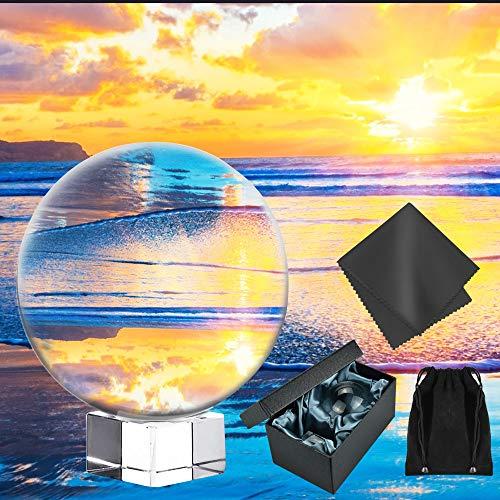 AFASOES Glaskugel 60mm K9 Kristallkugel wahrsagerkugel mit Glasständer Lensball Fotografie Klare Fotokugel mit Ständer & Geschenkbox Globus für Fotografie Dekoration Feng Shui Wahrsagung
