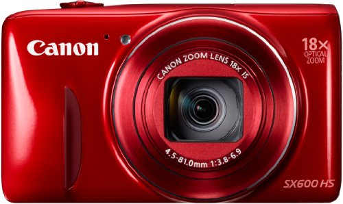 Canon PowerShot SX600 HS Digitalkamera (16 MP, 18-fach opt. Zoom, 7,5cm (3 Zoll) Display, Full HD, WLAN, NFC) rot