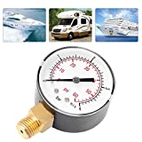 Manometro para Agua 1/4,Manometro Presion Agua,Rango de Medición 0-60Psi / 0-4Bar,Herramienta de Medición de Presión,Adecuadas para Aire, Agua, Aceite, Aire