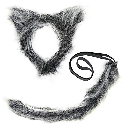 Balinco Wolf Kostüm bestehend aus: Haarreif | Werwolf Haarreifen | Wolfsohren aus Plüsch & Wolfsschwanz | Wolf Schwanz für Damen & Herren als Accessoires für Ihr Wolfskostüm zum Karneval