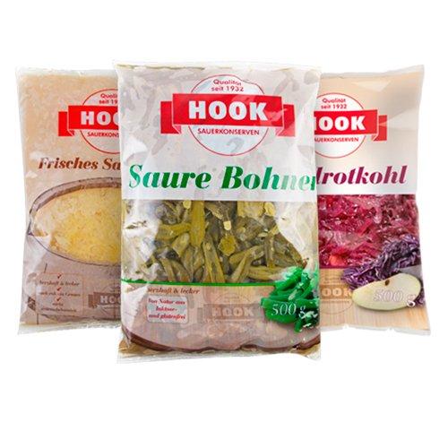 HOOK - Omas Liebste - Probierset: 2 x HOOK Apfelrotkohl, 2 x HOOK Frisches Sauerkraut, 2 x HOOK Saure Bohnen (je 500g)
