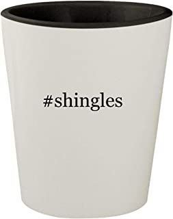 #shingles - White Outer & Black Inner Hashtag Ceramic 1.5oz Shot Glass