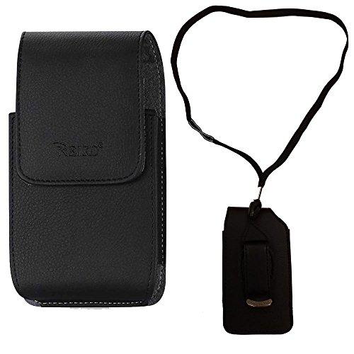 Around The Neck Hanging Lanyard Magnetic Top Black Case fits LG b470 flip Phone