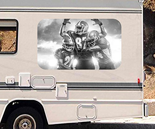3D Autoaufkleber American Football Touchdown Sport schwarz weiß Wohnmobil Auto KFZ Fenster Sticker Aufkleber 21A456, Größe 3D sticker:ca. 45cmx27cm