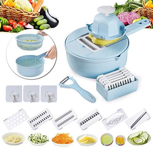 Gemüseschneider, Gemüsehobel, Essieny 12 Stück Gemüseschneider Sieb mit 4 Stück Auswechselbare Edelstahl Klingen, Eigelb-Abscheider, Auffangbehälter, Schäler, BPA Feri, Ideal zum Obst,Gemüse-Blau