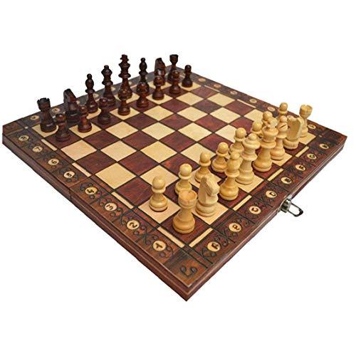 Odoukey Juego de ajedrez de 3 en 1 Placa magnética Plegable Ajedrez Ajedrez Juego de Mesa Plegable de Madera de ajedrez de Brown Junta Set 39 * 39cm