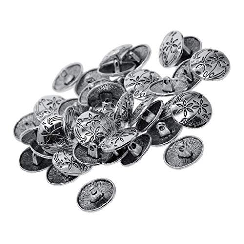 Hellery 30er-Pack Knöpfe Metallknöpfe Knopf Metallknopf Trachtenknopf Ösenknöpfe flaches antikes Silber 18mm - Blumenmuster