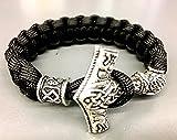 Handgeknotet, nach Maß gefertigt: Thor's Hammer Armband| Wikinger Armband mit Mjolnir-Verschluss in...