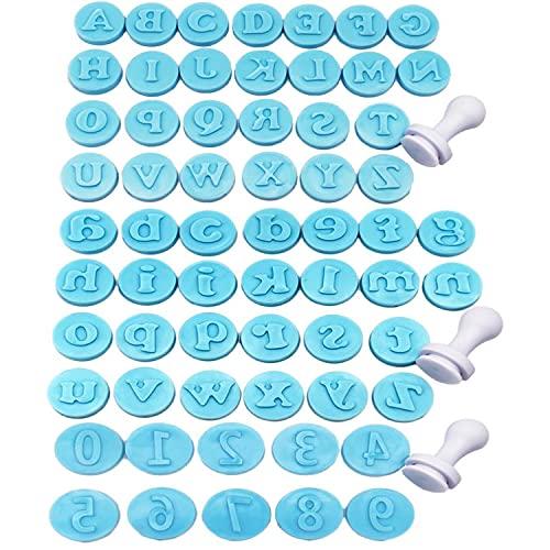 Stampini Per Fondente,Binblin 62PCS Lettere Pasta Di Zucchero Alfabeto Cake Design Per Decorare Torte Fondente Biscotti Sciroppo Zucchero Di Mandorle Biscotti Marzapane