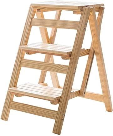 Wtbew-u Folding Step Stool  Stairway Chair Multifunction Ladder Chair Stool Wooden Household Climbing