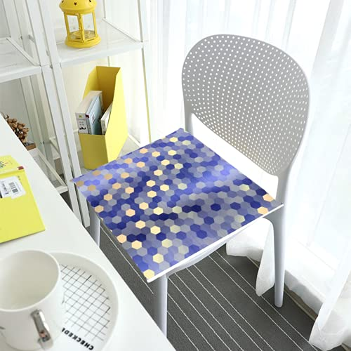 Comfortable Chair Cushions Seat Pads For Dining Chairs Pad Yellow Gold Cobalt Sapphire Blue Hexagon Square Removable Cover Indoor Outdoor Living Room Patio Garden Office Coffee Shop