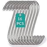 16 Ganci a Forma di S Gommati per Appendere in Acciaio Inox - 12cm - Fino a 25kg di Carico - Gancio a S Metallico