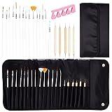 KMALL Set di 20 pennelli penne e dotters kit con punte tutte diverse strumenti professionale per decorazioni unghie gel nail art disegni di precisione manicure pedicure, con un cassa di stoccaggio